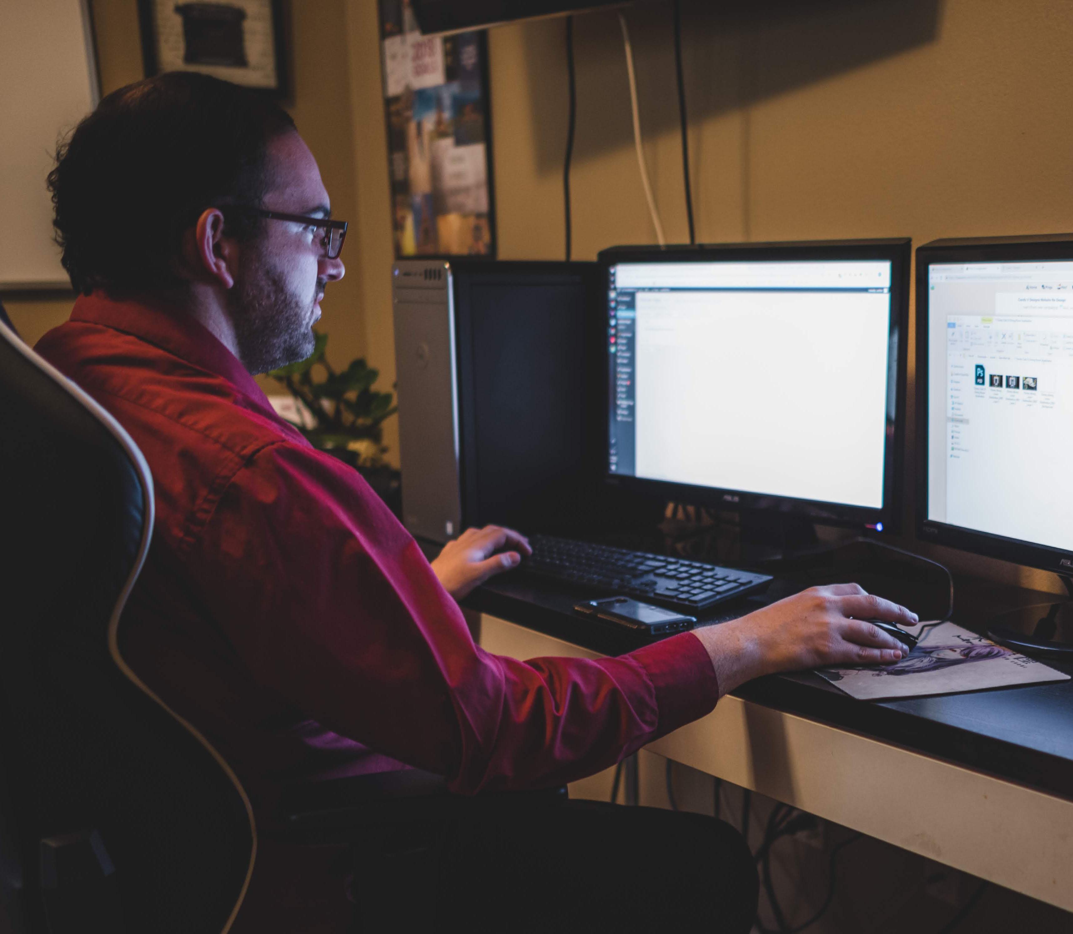 Felix at his computer.